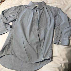 Cabi blue striped oxford cloth shirt